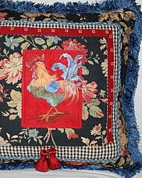 One of a Kind Hand Painted French Country Rooster Pillow Blue Fringe-Red,ultrasuede,yellow,floral,fringe, designer,green,chicken,artist,tassel,decor,