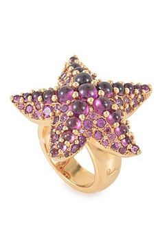 Vintage Pomellato Sirene Pave Rhodolite Starfish Ring