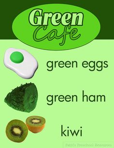 Menu for the Green Cafe (Dramatic Play) during Green Eggs and Ham Theme