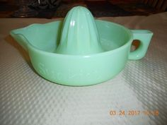 Green Jadite Fire King SUNKIST Juicer Pat No 68764 Made in USA