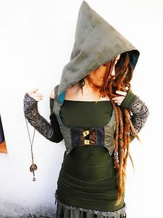 Nymph Noveau # hooded pixie vest # green & brown textures