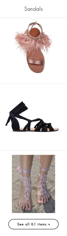 """""""Sandals"""" by rayvrayv98 ❤ liked on Polyvore featuring shoes, sandals, flats, pink, strap sandals, strappy flats sandals, pink flat sandals, t-strap flats, strappy flats and black"""