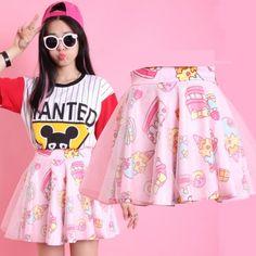 Super kawaii pink lolita tutu style skirt with all over ice cream and cake print. Features sparkle net overlay. Length: 40cm. Size: UK 6-10 (one size). #SweetLolita #FairyKei #LolitaSkirt #CuteSkirt #JStyle