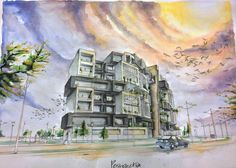 Watercolour architectural rendering  by ismael omer