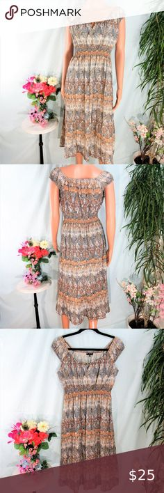 NWT MLLE GABRIELLE Strapless Smocked Jersey Knit Maxi Dress w//Bead Necklace Tie