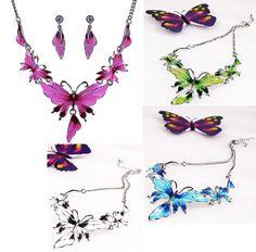 Pretty Butterfly Necklace & Earrings Set Multicolor Wings Metal Chain – gohappie.org