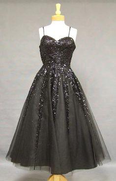 Black Tulle 1950's Cocktail Dress w/ Sequins