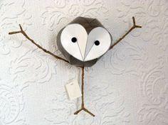 Barn owl mobile bird mobile Handmade paper by kaperonline on Etsy