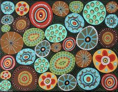Sweets 14x11 Circles Candy ORIGINAL Canvas PAINTING Abstract FOLK ART Karla G, for sale, just added to store...