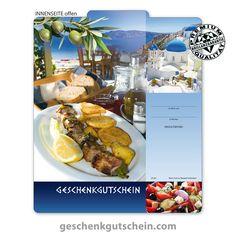 Gutscheinvorlage für griechische Restaurant   #Griechen #Greek #Gutschein #für #Restaurant #Essen #Eatout #Food #Gutscheinvorlage #Kultur #G240 Pizzeria, Fine Dining, Greek Restaurants, Invitations, Culture, Gifts