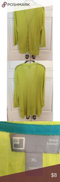 Lime Green JCPenney Cardigan XL Long Sleeve, 6 button front, 55% Linen, 45% cotton, lime green, v neck, banded bottom cardigan. Old Navy, XL Old Navy Sweaters Cardigans