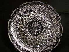 """Vintage Anchor Hocking Pressed Glass Wexford Crystal 11"""" Divided Relish Plate  $7.99"""