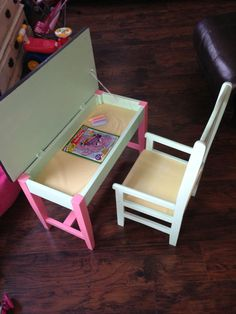 Piano bench reloved as a child's desk.