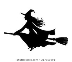 Witch On Broomstick Vector Black Silhouette Stock Vector (Royalty Free) 217650991 Halloween Stencils, Halloween Wall Decor, Diy Halloween Decorations, Halloween Crafts, Happy Halloween, Witch Silhouette, Silhouette Cutter, Silhouette Images, Black Silhouette