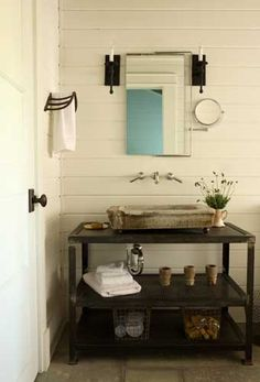 Industrial. I love the towel bar.