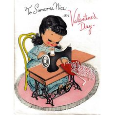 Valentine's Day Greeting Card Sewing Real Lace