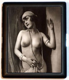 Cleopatra Egyptian Revival Style Nude Flapper Jazz Age Roaring 20s Style two Cigarette ID Case Wallet Business Card Holder
