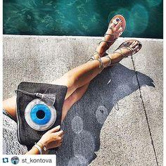 Summer afternoons with a handmade clutch bag Christina Malle #evileyeproject Thank you @st_kontova !  #mataki #IKeepMyEyeOnYou #christinamalle_bags ✨✨. #ss2015#collection#fashion#clutches#hanbag#bag#summer#handmade#christinamalle_bags#Greece#madeingreece#greekdesigners#accessories#summeringreece#summeringreece#thessaloniki#instalike#vsco