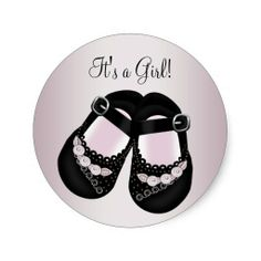 Black Baby Shoes Pink Baby Shower Stickers