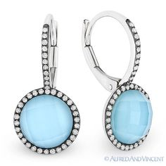 """The featured earrings are cast in 14k white gold and showcase round checkerboard white-topaz-on-turquoise """"doublets"""" accentuated by round cut diamonds set in black rhodium plated settings. The earrings are then finished with leverbacks for secure wear."""