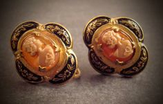 Vintage Damascene earrings, screw back, cameo earrings, black and gold earrings by snapconclusions on Etsy