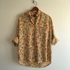 Vintage 80's Gap Boyfriend Shirt / Yellow Floral by vintspiration