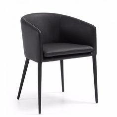 Sillón tapizado nórdico en negro, modelo Hamon