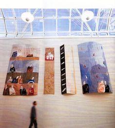 Alice Kettle - In Camera Scottish High Court, Edinburgh 1997 4 Panels total Free Machine Embroidery, Contemporary Artwork, Textile Artists, Secret Life, Kettle, Fiber Art, Alice, Photo Wall, Textiles