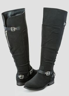 3c1091ced03d Double Buckle Flat Over The Knee Boot Wide Width Wide Calf Wide Calf Boots