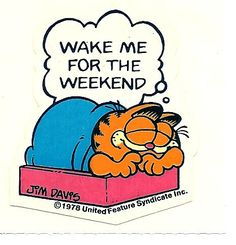 Wake Me For The Weekend Garfield Sticker