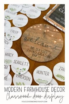 Bring more of the trend you love from home into your classroom with this beautiful MODERN FARMHOUSE Classroom Door Pack! Create a welcoming door display, classroom banner, affirmation station or inspiring bulletin board message with this pack made to match our other MODERN FARMHOUSE Classroom Decor. Choose from the different shaped signs (round, square and landscape full page) and sizes, add some labels or select a banner from one of the many included! #modernfarmhouseclassroom Classroom Labels, Classroom Bulletin Boards, Classroom Door, Classroom Displays, Classroom Themes, Classroom Organization, Preschool At Home, Preschool Ideas, Welcome Bulletin Boards
