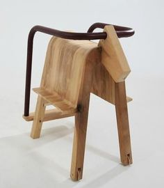 Fun chair shaped horse and safe for younger with steps and banister that goes around the horse's chair.