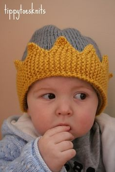 The Royal - Custom knit crown hat, newborn to 4T, choose size and colours. $24.00, via Etsy. http://www.etsy.com/listing/62178843/the-royal-custom-knit-crown-hat-newborn