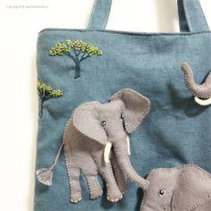 "Elephant felt applique and embroidery mini bag by e.no.bag ""ゾウ ノ バッグ "" #elephant #felt #embroidery"