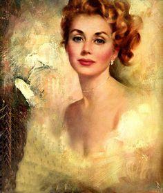 """BEAUTIFUL REDHEAD, MAXINE RUNCI"" Artist and Husband: Edward Runci"