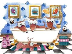 Original watercolor painting whimsical dog illustrations spa bath bird crows #IllustrationArt