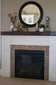 fireplace mantle - My-House-My-Home Wood Mantle Fireplace, Fireplace Remodel, Living Room With Fireplace, Fireplace Design, Fireplace Ideas, Fireplace Refacing, Fireplace Update, Welcome To My House, Home Fashion