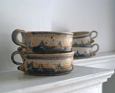 Vintage Studio Pottery Soup Bowl Set Handmade by 5gardenias