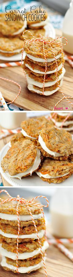 Carrot Cake Sandwich Cookies ~ mini carrot cake whoopie pies filled with cream cheese frosting make an easy, hand-held Easter dessert | http://FiveHeartHome.com