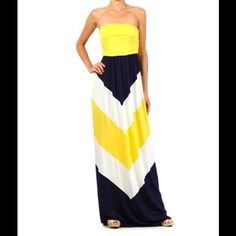Yellow and Navy Maxi Dress Yellow, white and navy maxi dress. Brand new. NO TRADES! Dresses Maxi
