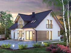Projekt domu Heweliusz PS 134,79 m2 - koszt budowy 248 tys. zł - EXTRADOM House Outside Design, Design Your Dream House, House Stairs, Facade House, Modern Exterior, Exterior Design, Rendered Houses, Bungalow Renovation, Spanish House