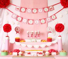 Red Pink Berry Strawberry Birthday Party Package
