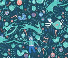 The Nutcracker (in Turquoise) fabric by nouveau_bohemian on Spoonflower - custom fabric