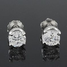 1.5 ct VVS1 Round Cut Solitaire Stud Earring in 14k White Gold Finish by JewelryHub on Opensky