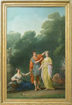 Joseph Marie Vien (French: 1716-1809) - Amant couronnant sa maîtresse, 1773 - Original painting at Musée du Louvre.
