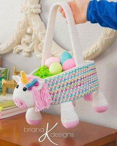 Easter with a bit of sparkle! All ages will enjoy a little rainbow unicorn Easter Basket for collecting eggs or for a nice storage basked for toys. Easter baskets do not get any cuter than this and the unique construction creates a sturdy side to make egg hunting a success.
