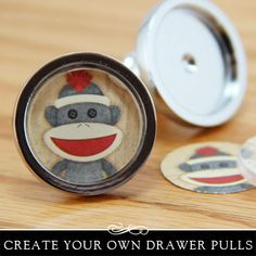 Drawer pulls or cabinet knobs with glass insert. Fun DIY project.