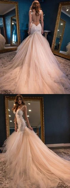 Vintage Boho Summer Wedding Dresses Luxury Princess Backless Lace Tulle Skirt Open Back Elegant Blush Pink Wedding Gown