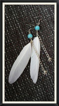 White feather earrings door BijouByMe op Etsy