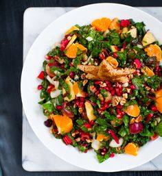 This looks gorgeous!  Christmas Tree Salad. Pomegranate. Pecans. Raw Chard.